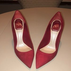 Christian Dior Red Suede Pumps